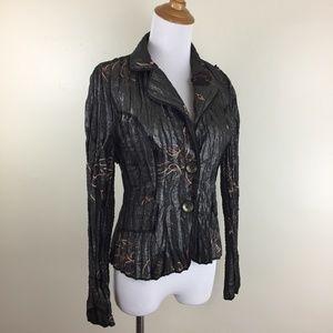 ALBERTO MAKALI Crinkle Textured Blazer Jacket